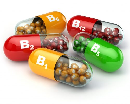 45111448 - vitamin b. capsules b1 b2 b6 b12 on white isolated background. 3d